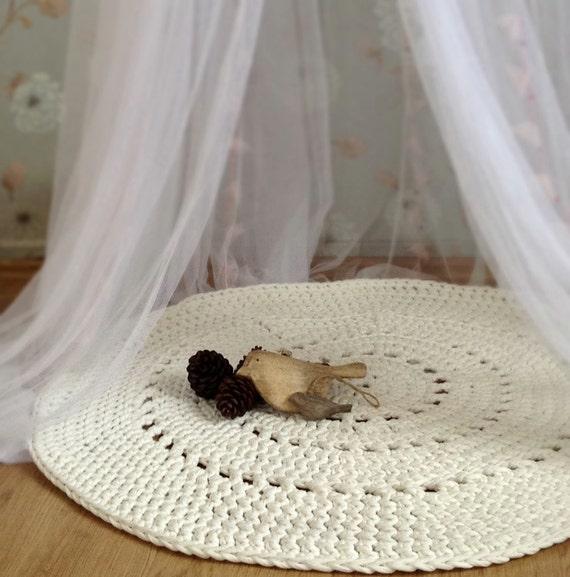 Crochet Kitchen Rugs: White Crochet Rug White Rug Floor Mat Nursery Rug Baby
