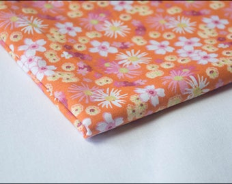 "Coupon of fabric 50 x 50 cm ""Zinia Orange"" 100% cotton"