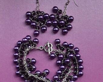 Wedding jewellery set, wedding jewelry set, purple wedding set, purple jewellery set, chunky purple jewelry, cluster jewellery, cluster set