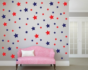 FREE SHIPPING Wall Decal Different Size of 150 Stars Color Blue & Red. Home Decor.Nursery Wall Sticker. Vinyl Wall Decal