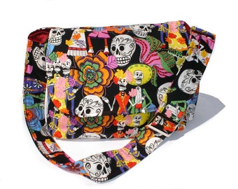On Sale!!Catrinas and Catrinos Day of the Dead  Skulls Messenger Crossbody Bag / Gift