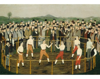 American Folk Art Oil Painting Print, Funny Old Fashioned Boxing Match, 19th Century