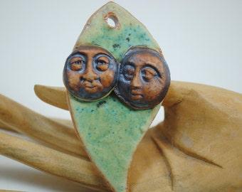 ceramic clay leaf pendant clay necklace leaf ornament ceramic handmade bead