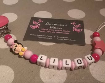 Pacifier clip personalized with name minnie lollipop pink and light pink