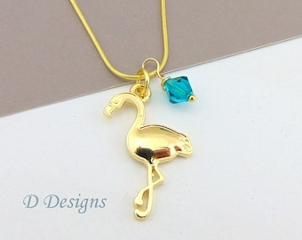 Gold Flamingo Necklace, Tarnish Resistant Gold Plated Flamingo Birthstone Necklace
