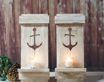 Nautical Anchor Pallet Wall Sconce - Beach House Decor - Distressed Wood Wall Decor - Beach Cottage Art - Nautical Decor - Rustic Beach