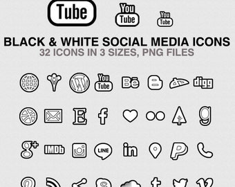 Black Social Media Icons Set of 32 pink icons in 3 sizes - PNG - Instant Download