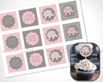 Elephant Cupcake Toppers - Pink - DIY Printable - INSTANT DOWNLOAD