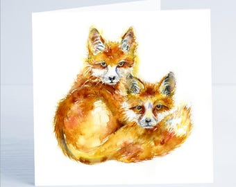 My Two Foxes- Greeting Card - Taken from an original Sheila Gill Watercolour Painting.