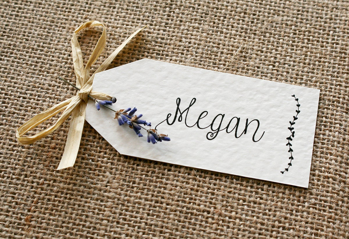 Rustic Vintage Lavender and Raffia Wedding Place Card Tag