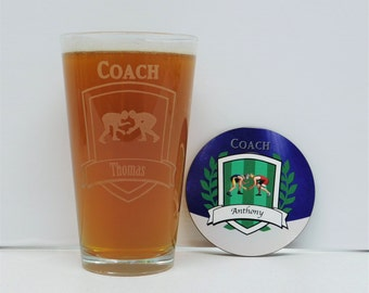 Wrestling Coach Gift, Wrestling, Coach gift, Pint Glass with Coaster and Gift box,
