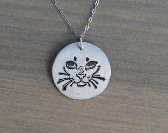 Cat face fine silver pendant