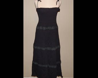 Black Crinkle Lace Summer Sundress Bust up to 34 Waist 26 Hip up to 36