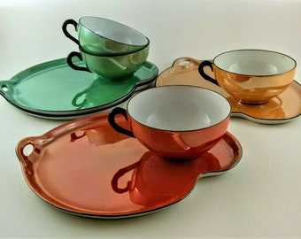 Bavaria Lustreware cup and saucer snack set for four.