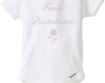 Future bachelorette onesie, the bachelor show, baby girl bodysuit, the bachelorette shirt, baby shower gift, reality tv onesie, roses