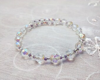 Crystal MemoryWire Bracelet, Czech Clear Crystal Bracelet, Memory Wire Bracelet, Beaded Bracelet, Easter Gift Idea, Spring Jewelry, Bangle