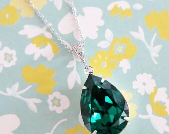 Sandra - Swarovski Emerald Green Crystal Teardrop Necklace, Bridesmaid Earrings, Bridal Jewelry, Wedding Jewelry, Swarovski Crystal Drops