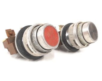 Pair of Vintage Industrial Machinery Buttons Red and Black, Steampunk Project, Bakelite, Aluminum