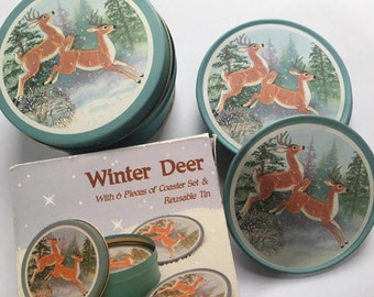 Vintage 1960's  Deer JSNY Coaster Set - Set of 6 Coasters in matching tin & original box - Very good condition - Winter Deer Coasters