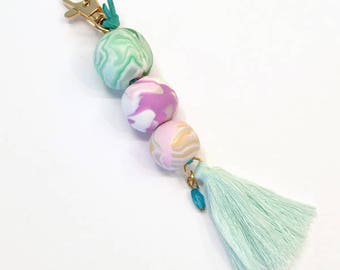 Key ring made of Fimo, key ring personalized, key fob in pastel, nicer