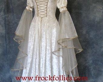 "Renaissance Dress, Medieval Dress, Elvish Wedding Dress, Pre-Raphaelite Gown, Handfasting Dress, Medieval Wedding Dress, ""Amelia"""