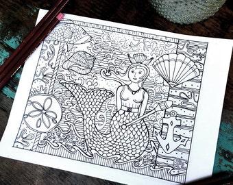 Mermaid Adult Coloring Page -Mermaid-Lisa Kaus