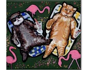 Sunbathing Cats Fun Humor Whimsical Colorful Folk Art Ceramic Tile