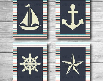 "Nautical Printable Wall Art, Wall Decor, Nursery Wall Art, Nautical Print, Home Decor, Digital Print 8"" x 10"" - Instant Download - DP346"