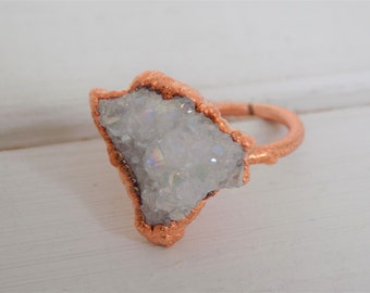Raw aura druzy ring -  raw quartz ring - copper quartz ring - raw crystal ring - boho ring - electroformed ring - size L size 6 ring