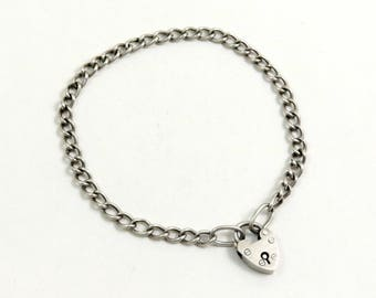 Vintage Sterling Silver Charm Bracelet with Heart Padlock Clasp