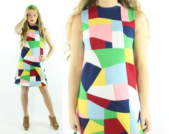 70s Crazy Quilt Mini Dress Go go Space Age Mod Sleeveless Multicolored Rainbow Vintage 1970s Small S XS Handmade