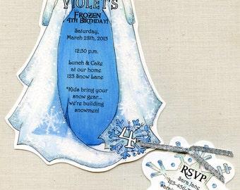 Dress invitations etsy personalized frozen elsa dress birthday party invitations winter ice snowflake party invitation handcut set of 30 stopboris Gallery