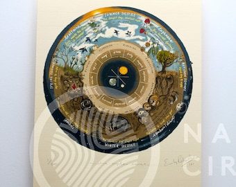 Wheel of the Year Calendar - Limited Edition 'Native Circles' Print by Irish artist Emily Robyn Archer