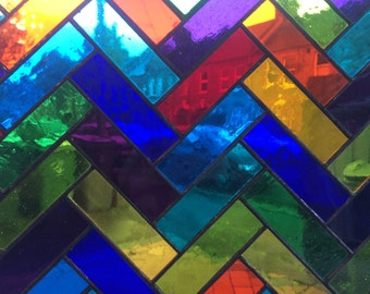 12 Colour 'Parquet' Stained Glass Panel