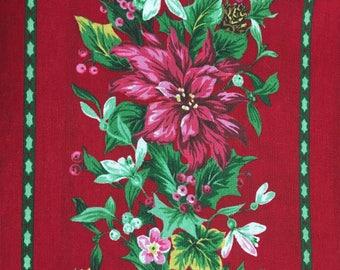Poinsettia Stripe Christmas Flower Cranston Print Works Fabric