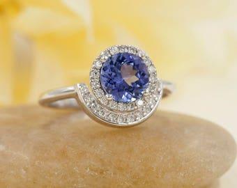 Tanzanite Engagement Ring.Diamond Engagement Ring.14K Solid White Gold Engagement Ring.0.28ct High Quality Diamonds.Unique Ring.