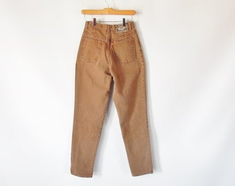 """Express Compagnie Internationale jeans 27"""" Waist 37"""" hips Vintage 1990's Era Light Brown Jeans High Waist Tapered Leg EXP jeans No 4"""