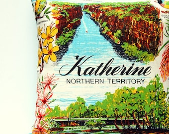Cushion Cover Vintage Linen Tea Towel Katherine Northern Territory Australia