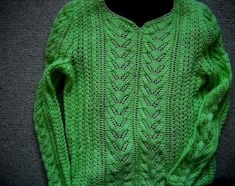Lime green 100% color Mercerized cotton sweater
