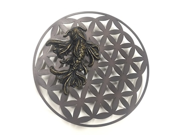 Flower of Life Sacred Geometry and Koi Fish Metal Wall Art - Oil Rubbed Bronze - Wall Quote - Wall Art - Home Decor - Metal Art - Gold Fish