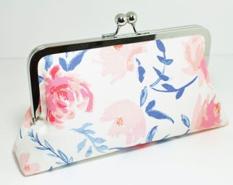 Floral Clutch - Bridesmaid Clutch - Mother's Day - Kisslock Clutch - White, Blush, Peach, Pink, Navy