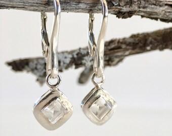 White topaz earrings Elegant earrings Occasion earrings Geometric earrings Wedding earrings Earrings w/white stones