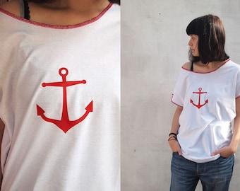 Women's Sailor T-shirt Anchor T-shirt  marine T-shirt white boyfriend T-shirt loose shirt