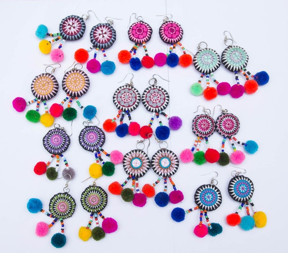 Hmong Earring Accessories Ethnic Embroidery Colorful
