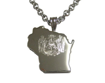 Wisconsin State Map Shape and Flag Design Pendant Necklace