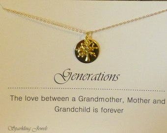 Generations Necklace, Grandmother Gift, Generation Necklace, Family Jewelry, Family Tree Necklace, Grandchildren Necklace