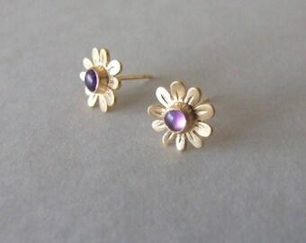Gold Flower Earrings - with amethyst , flower earrings , gold stud earrings , woodland earrings , amethyst earrings , febuary birth stone