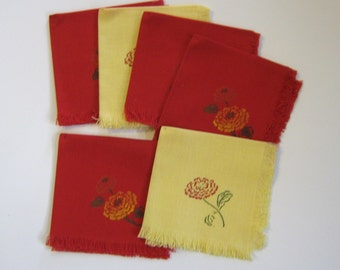 Vintage linen luncheon napkins (6) red and yellow flower UNUSED
