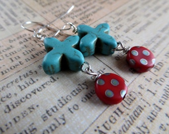 Turquoise Cross, Red Polka Dots and Sterling Silver Earrings