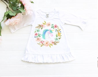 Unicorn Toddler Dress, Unicorn Baby Dress with Ruffles